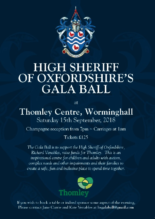 Join Us For The High Sheriff's Ball, At Thomley, For Thomley…