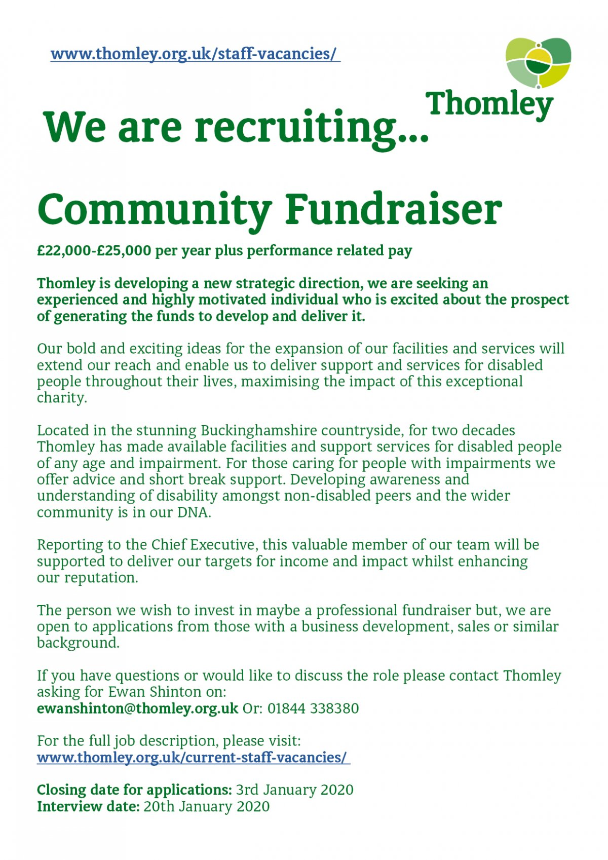 We Are Recruiting For A Community Fundraiser…