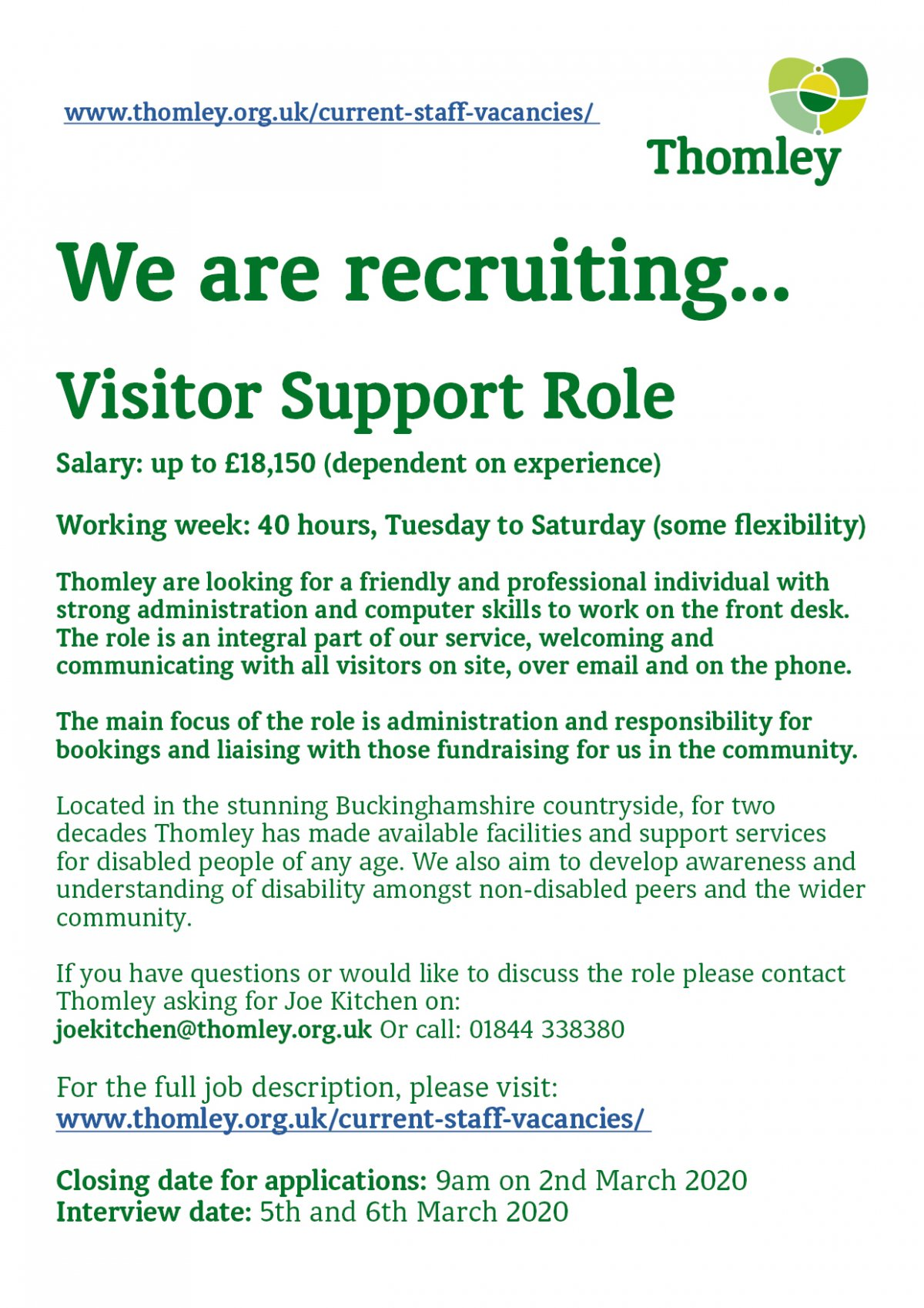We Are Recruiting For A 'Visitor Support' Role…