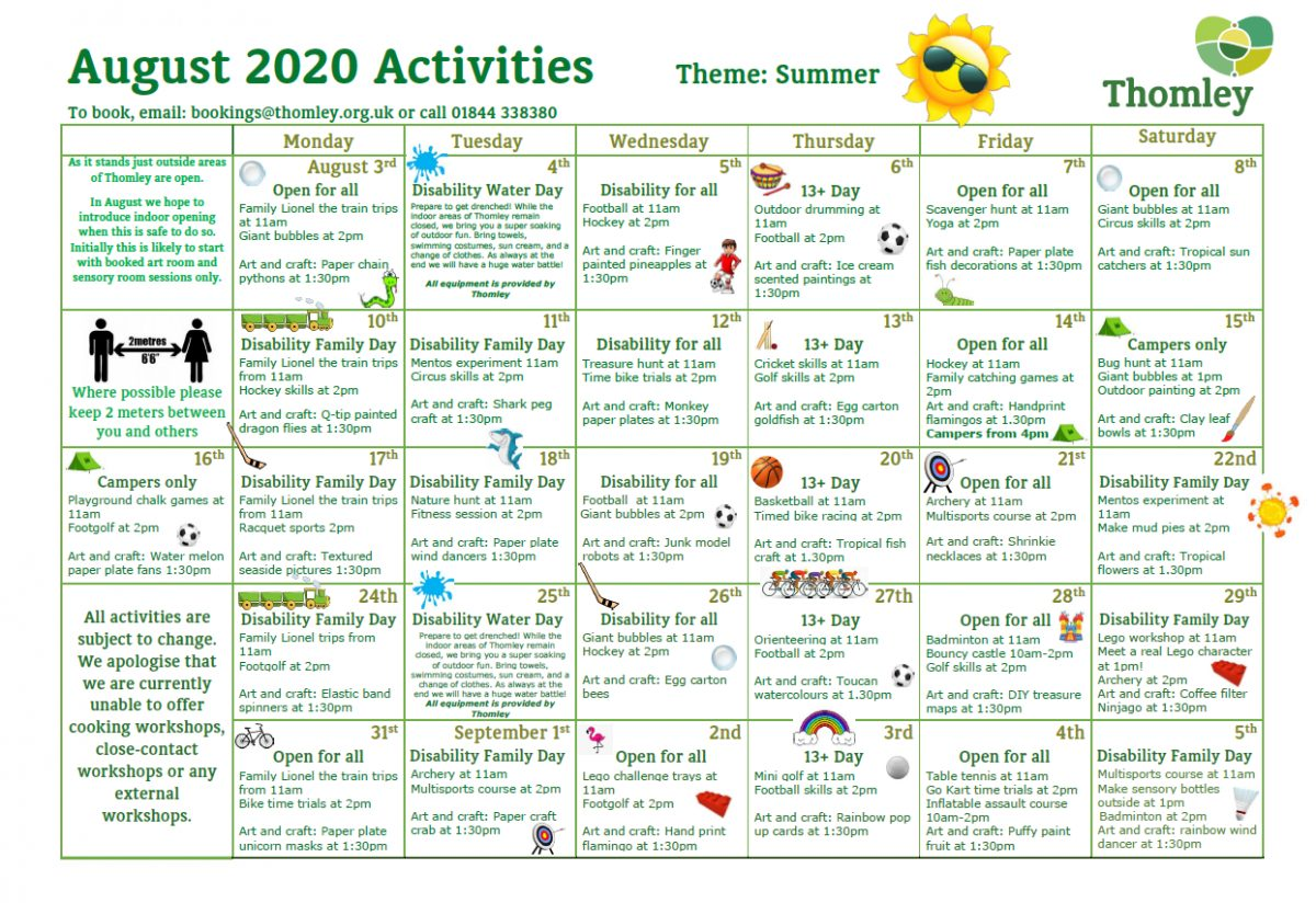 August Activities…