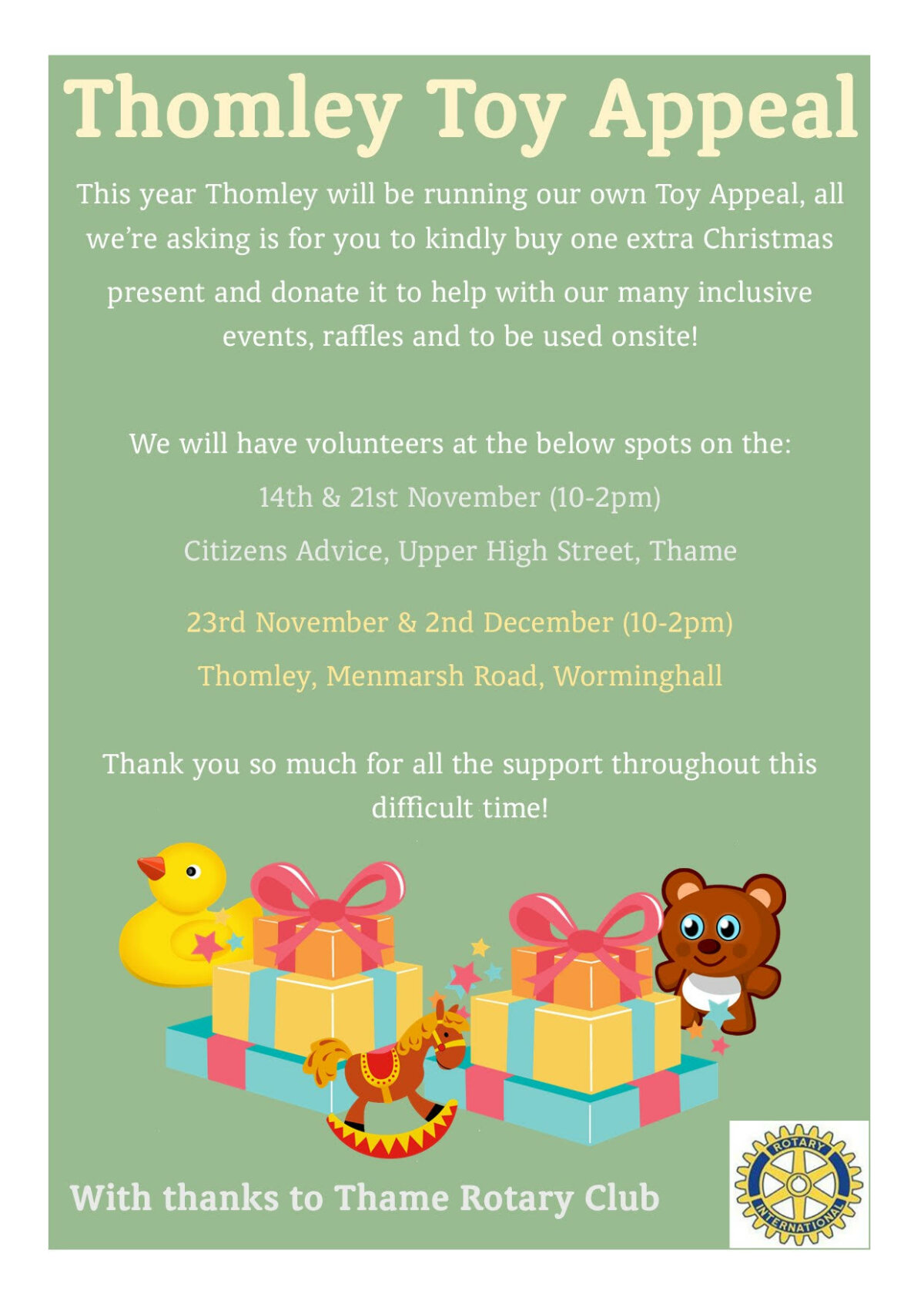 Thomley Toy Appeal – First Day This Weekend!