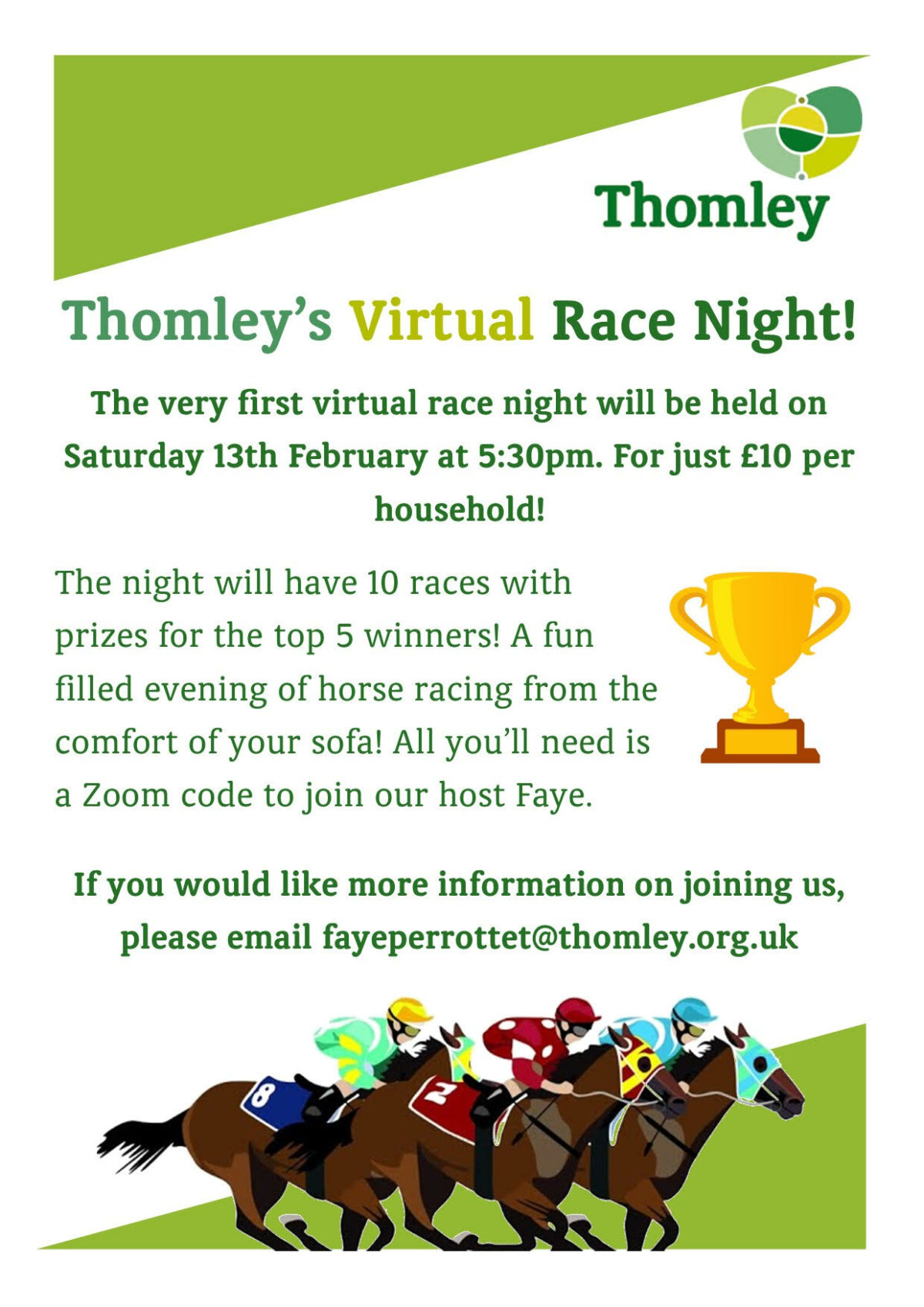 Virtual Race Night This Saturday…