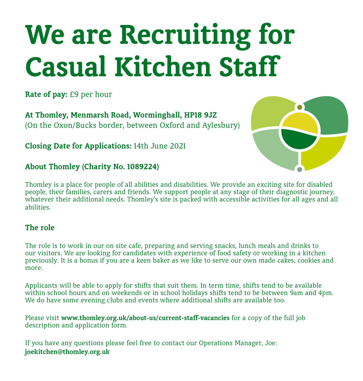 We Are Recruiting For Casual Kitchen Staff…