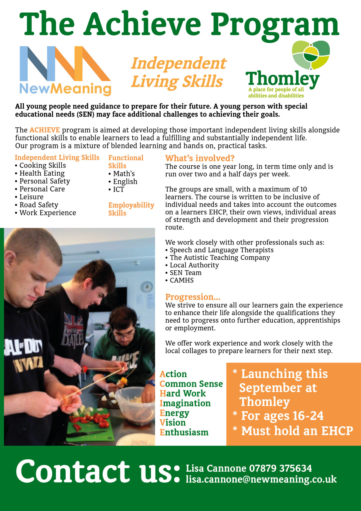 Lifeskills For 18-24 Year Olds – Starting This September At Thomley…