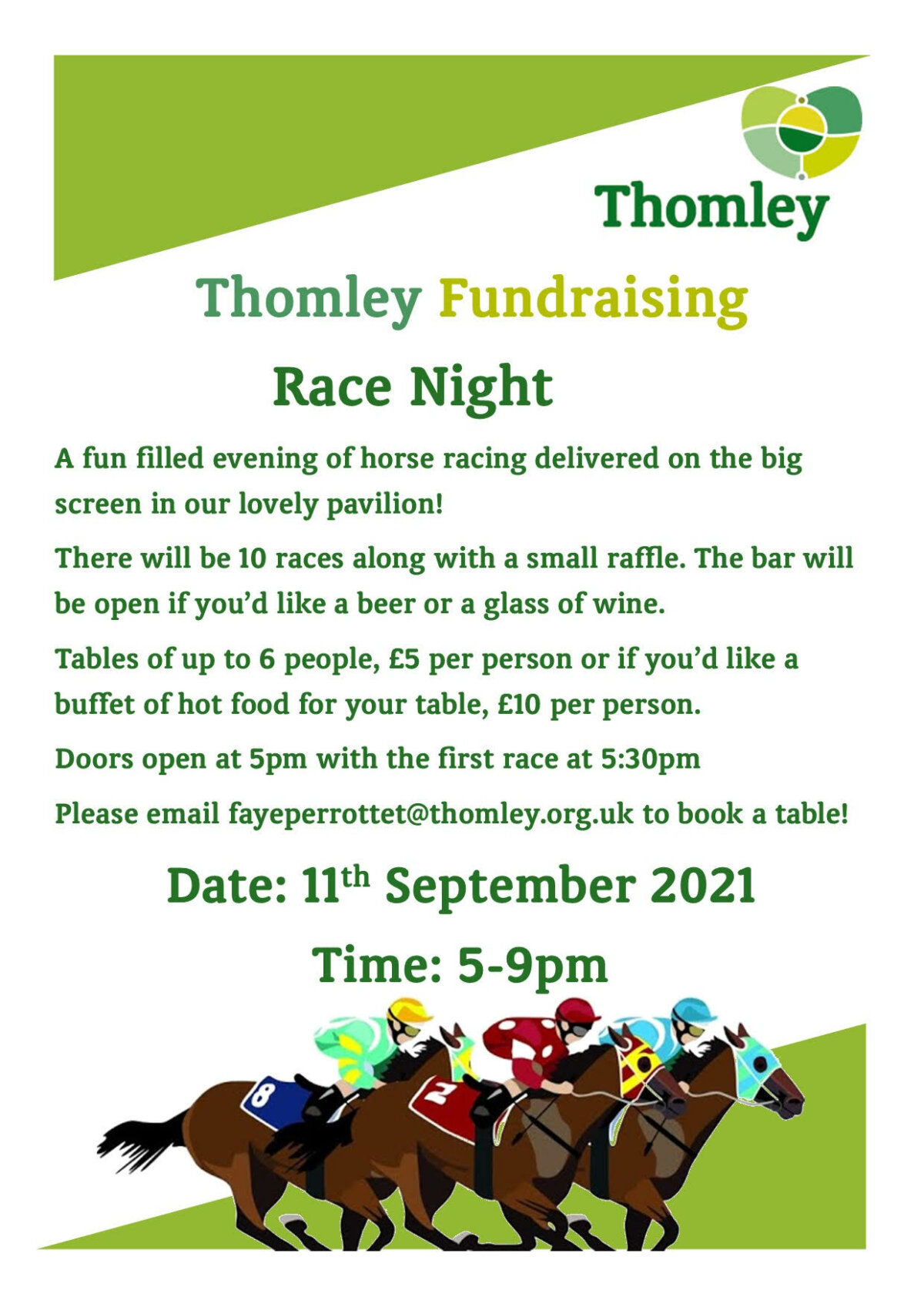 Join Us For A Fundraising Race Night At Thomley…